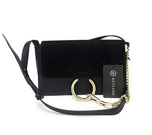 - ACTLURE Women Genuine Leather Crossbody Shoulder Purse Chain Link Handbag (Black-S)