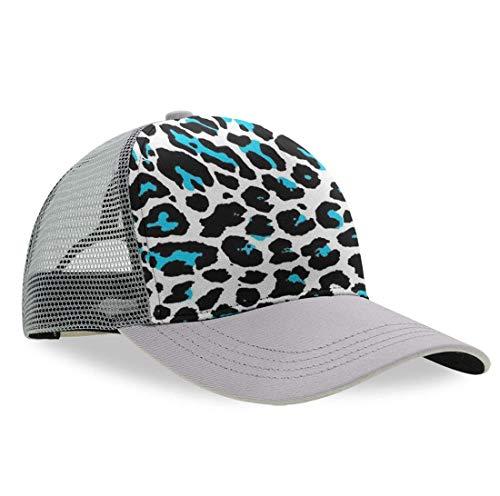 YongColer Men Women Cheetah Blue and Black Leopard Dad Cap, Fitted Trucker Cap, Dad Baseball Cap, Sports Mesh Peaked Hats, Moisture Wicking Breathable Snapback Cap for Baseball Running -