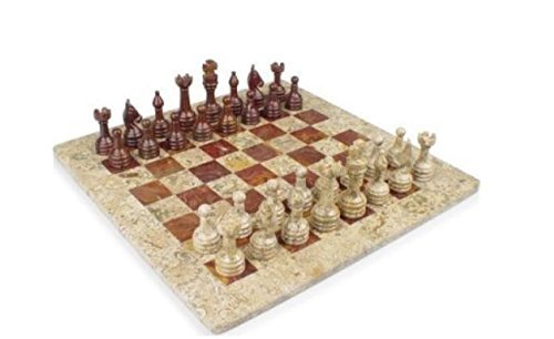Red Onyx Set Chess (Traditional Classic Handmade Square Park Deluxe Marble Chess Set)