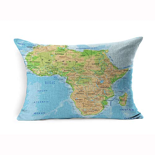 Ahawoso Linen Throw Pillow Cover Queen 20x30 Ocean African High Detailed Africa Physical Map Labeling Abstract Continent Madagascar Libya South Relief Atlas Pillowcase Home Decor Cushion Pillow Case (Physical Geography Of Africa South Of The Sahara)