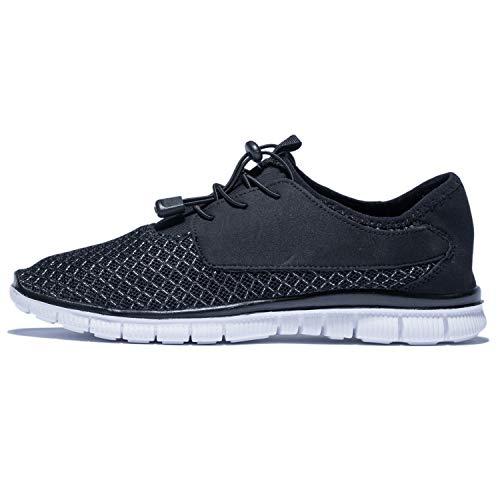 KENSBUY Men's Walking Sneakers Lightweight Mesh Lace Up Shoes(Black EU41) by KENSBUY (Image #3)