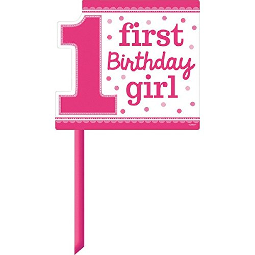 1st Birthday Yard Sign (Amscan 190299 Pretty in Pink Sweet 1st Birthday Party Yard Sign Decoration, 14