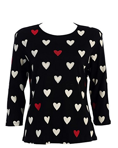 "Jess & Jane ""Hearts"" Rhinestone Dressy or Casual Tee Shirt 14-859BK"
