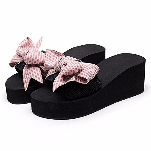 chaussons Piscine chaussures mode plage FLYRCX Beach femme bow Resort de d'été cool sweet d antiskid 0HWqAnAd8w
