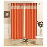 """Kashi Home Rio Faux Silk Grommet Top 55"""" x 90″ Curtain Panel Two Pack Orange"""