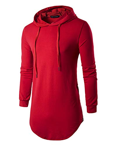 - Defal Mens Hipster Long Sleeve Side Zipper Hooded Shirt Pullover Sweatshirt (Large, Red)