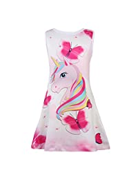 LQSZ Girls Unicorn Nightgowns Sleep Shirts Sleeveless Sleepwear Pajama Casual Night Dress