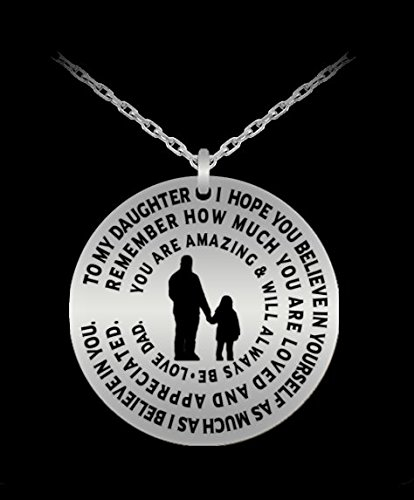Daughter Necklace From Dad - Silver Laser Engraved Personalized Pendant Charm From Father