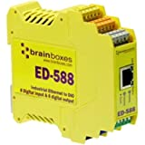 BRAINBOXES Ethernet to Digital IO 8 Inputs + 8 Outputs /1 x Network (RJ-45) - 1 x Serial Port - Fast Ethernet - Rail-mountable / ED-588 /
