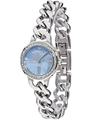 Yves Camani Burgaudine Womens Wrist Watch Quartz Analog Stainless Steel Silver Blue Dial Mother Of Pearl