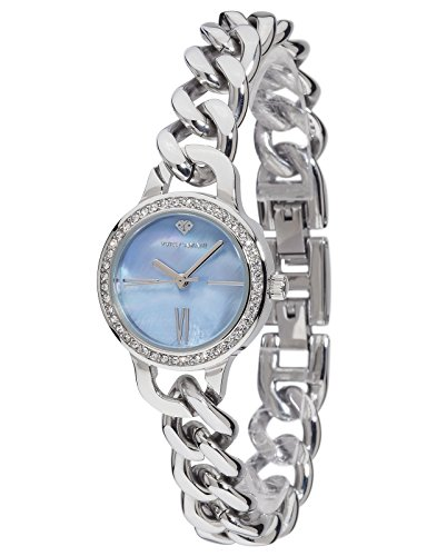 Yves Camani Burgaudine Women's Wrist Watch Quartz Analog Stainless Steel Silver Blue Dial Mother Of Pearl