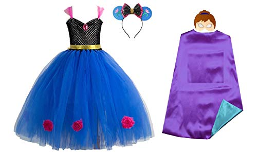 Asda Girls Halloween Costumes (Chunks of Charm Frozen Costume Inspired Princess Tutu Dress from Dot Com (3T Dress) Blue,)