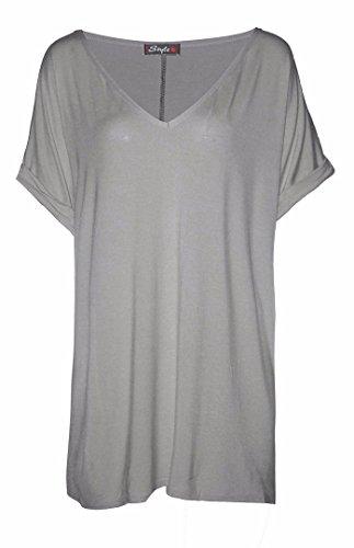 shirt Da Baggy Grey Styles Fk Top V Oversize T Donna Collo Con znH6Pq56