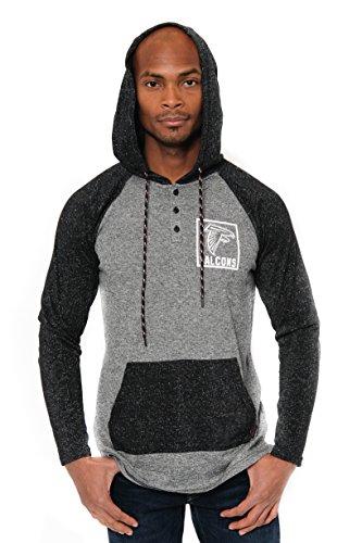 NFL Atlanta Falcons Men's Henley Raglan Team Color Pullover Hoodie Sweatshirt, Black, Small