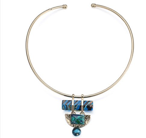 Turquoise Choker Torques Necklace Geometric Stone Short Necklaces Women Metal Collar Simple Bijoux Femme - Store Metal Femme