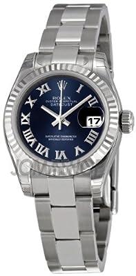Rolex Datejust Blue Dial Fluted 18kt White Gold Bezel Ladies Watch 179174BLRO by Rolex
