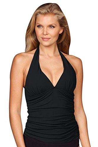 Solere Black Shirred Halter Tankini Top Size 14 (Top Halter Tankini Shirred)