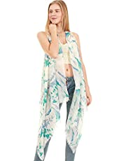 Various Pattern Printed Long Scarf Vest with Uneven Hem