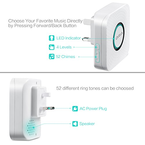 Portable Easy Chime Plug-in Wireless Doorbell Operating over 900 feet(open air), Range with 52 Chimes,CD Quality Sound and LED Flash.No Batteries Required by AMIR (Image #2)