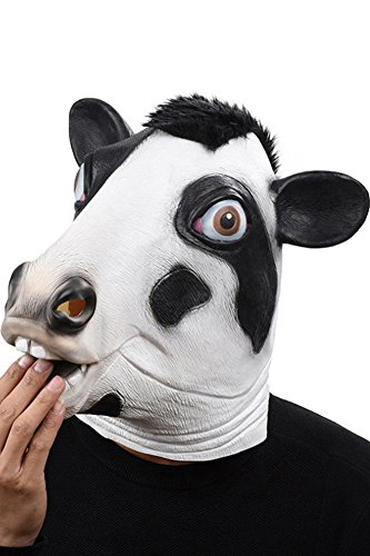 Cosplaysky Halloween Costume Party Latex Dog Head Mask, Cow ()