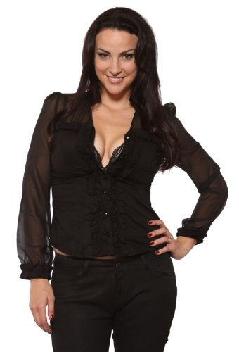 Oh Yes Sexy Black Stretchy Blouse Sheer Sleeves Bra Cup Padding Womens Sizes: Medium