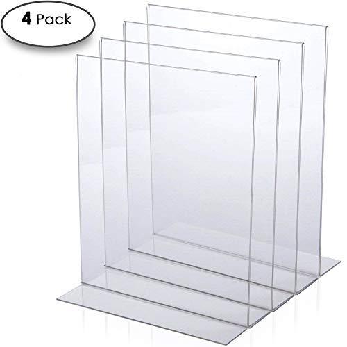 - Clear Acrylic Sign Holder Frame - 4-Pack - Premium Heavy-Duty 8.5