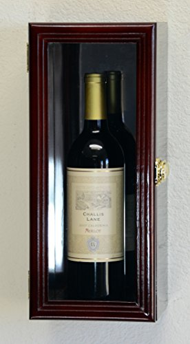 Single Wine Bottle Wall Display Case Cabinet Holder with Mirror Back Holds Bordeux Cabernet Burgundy Pinot Champagne Magnum Bottles (Cherry Finish) ()