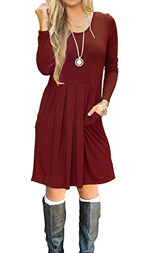 I2CRAZY Women's Casual Pleated Loose Swing T-Shirt Dress with Pockets Knee Length(06-Long Sleeve-Wine Red,M) by I2CRAZY