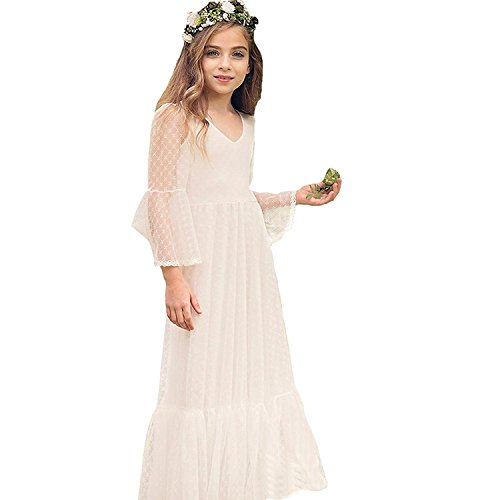 Boho-Chic Lace First Communion Dresses Off-White Size 6]()