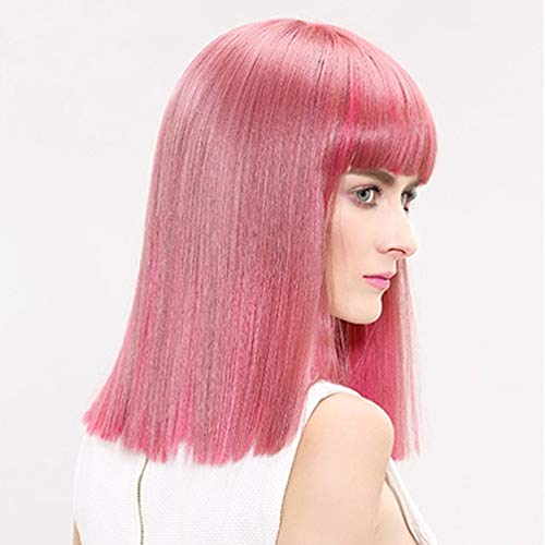 Ombre Pink Mid-length and Straight Hair Wigs with Bangs for Women,Halloween Costumes Cosplay Daily Party,Heat Resistant Synthetic, Natural as Real Hair15 Inches -