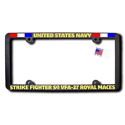 Usn Fighter - James E. Reid Design USN Strike Fighter Squadron VFA-27 Royal MACES License Frame w/Reflective Gold Lettering w/Ribbons
