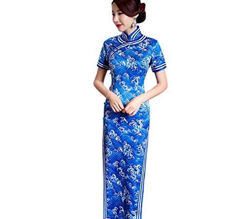 Eté Acvip Rétro Polyester Avec Courte Longue Chinoise Manche Cheongsam Femme Bleu Qipao En Traditionnel Robe Hrq6nH5Cw