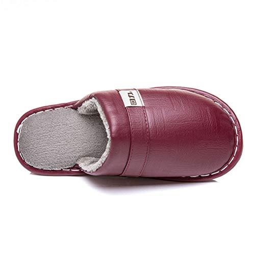 En Femme cuir Vin Chaussons Doublées Automne Hiver Pantoufles À Confort Rouge Pour Coton Antidérapantes Mémoire Mousse Homme Supérieur Peluche pSFTt