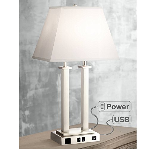- Amity Modern Table Lamp with Hotel Style USB & AC Outlet Brushed Nickel Side Outlet for Bedroom Endtable Nightstand - Possini Euro Design