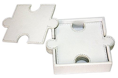 WOOSAL 6 Pieces Double-deck Puzzle Leather Coasters with Coaster Holder (White)