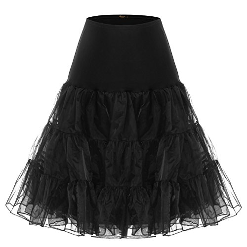 BAOMOSI Women's 50s Vintage Petticoat Skirts Crinoline Tutu Underskirts BLACK XL (1980 Fancy Dress Outfits)