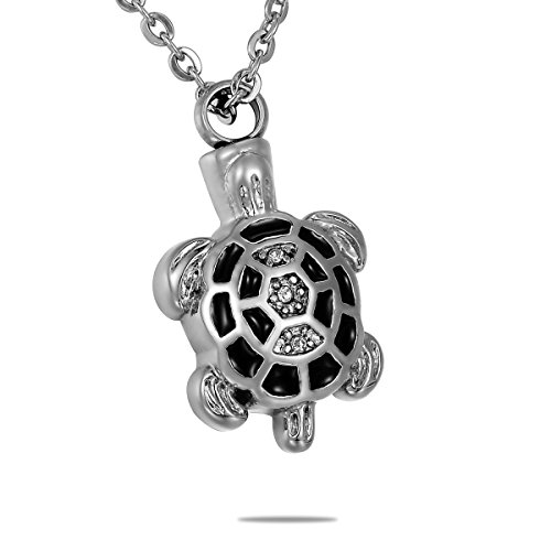 - HooAMI Black Crystal Longevity Turtle Urn Necklace Pendant Stainless Steel Cremation Jewelry