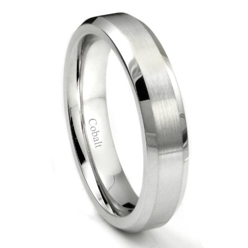 Cobalt XF Chrome 5MM Brush Center Wedding Band Ring w/ Beveled Edges Sz 10.0 by Titanium Kay