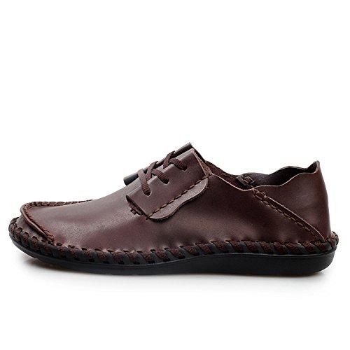 Suaves Red1 Mano Fondo El De Cordones Con Sandalias Respaldos En A Zapatos Costura Casuales Cuero qBzw6I