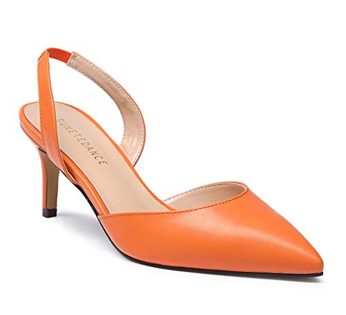 SUNETEDANCE Women's Slingback Pumps Pointed Toe Kitten Heels Slip On Stiletto Sandals Ankle Strap Shoes 6CM Heels Pu Orange Pump 10 M ()