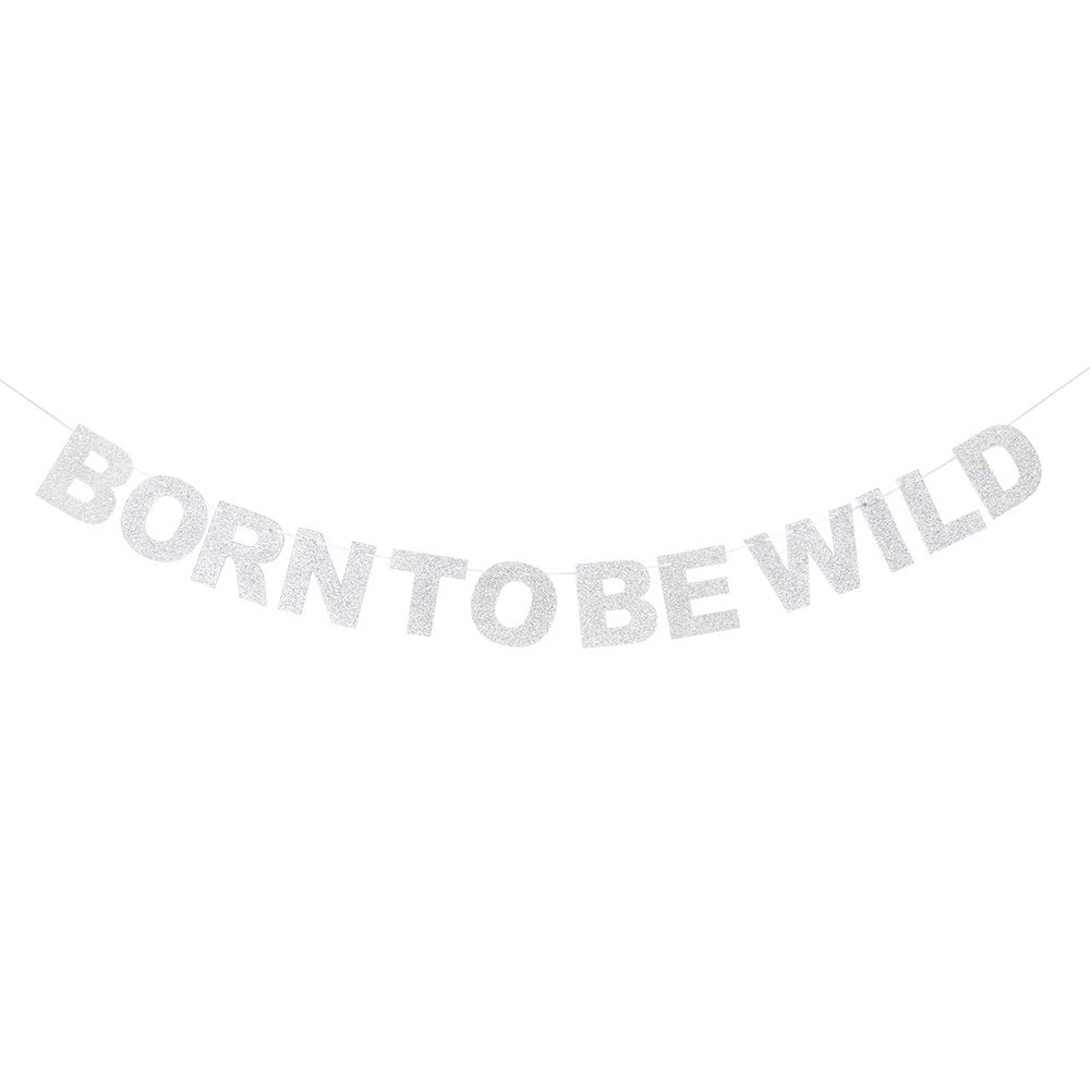 Born to Be Wild Silver Glitter Banner Baby 1st Safari Birthday Wild One Party Table Sign Hanging Decoration.