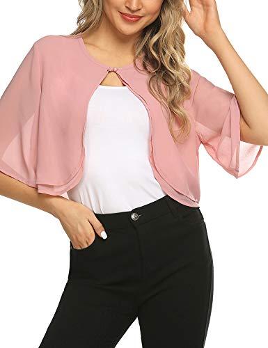 (Teewanna Junior's Sheer Chiffon Bolero Shrug Jacket Cardigan Short Sleeve, Pink, L)