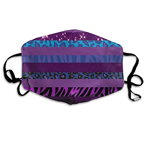 Mouth Mask Cheetah Purple Stripe Leopard Earloop Face Masks - Adjustable Elastic Strap for Ski Cycling, Anti Smog Dustproof Respirator, Half Face Mouth Mask/Cover ()