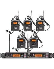 XTUGA RW2080 - Sistema de monitor de oído inalámbrico de metal entero con 2 canales y 5 bodypacks de monitoreo con auriculares tipo inalámbrico utilizado para escenario o estudio (frecuencia 902-928 MHz)