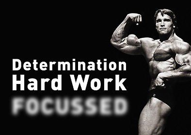 MOTIVATION   Arnold Schwarzenegger   Determination Hard Work   Quote   A3  Poster   Quote Sign