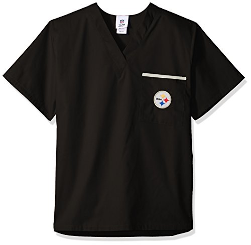 NFL Scrub Dudz Solid Scrub Top, Pittsburgh Steelers, Black]()