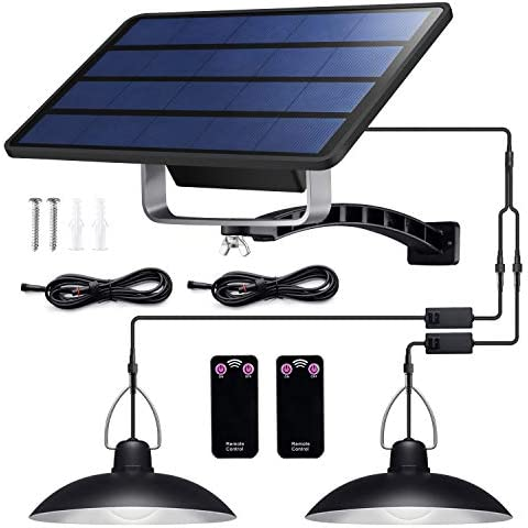 Solar Lights Outdoor, IP65 Waterproof Solar Lights with 32 LED Lights and 2 Remote Control, Easy-to-Install Solar Outdoor Lights with 19.68FT 6M Extension Cord, for Sheds, Yards, Garden, Indoors