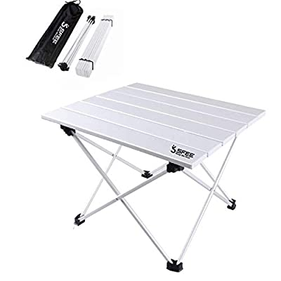 Sfee Folding Camping Table - Portable Ultralight Aluminum Camp Table Lightweight Compact Roll Up Picnic Table for Picnic Outdoor Hiking BBQ Camping Kitchen Fishing Beach with Carry Bag