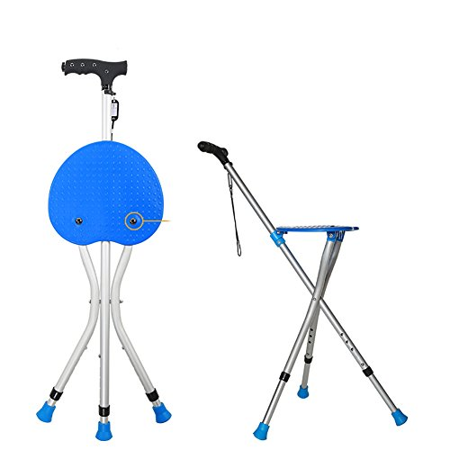 Old People Folding Stool Walking Stick With Chair Function Walking Aids Seat Sticks Walking Seat Cane Safety Load-bearing: 550 (lb),Blue by Yade