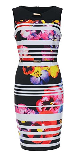 Joseph Ribkoff Geometric Floral Sleeveless Dress with Faux Belt Style 172744 - Size 12